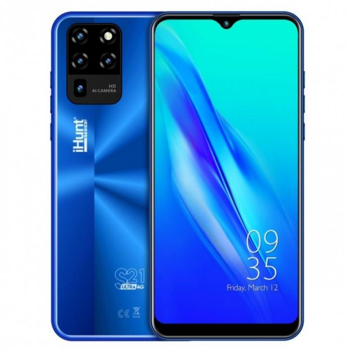 Telefon mobil iHunt S21 Ultra 4G 2021 Albastru, IPS 6.3 , 2GB RAM, 16GB ROM, Android 10 GO, Spreadtrum SC9832E, Face ID, 4000mAh, Dual SIM imagine dualstore.ro 2021