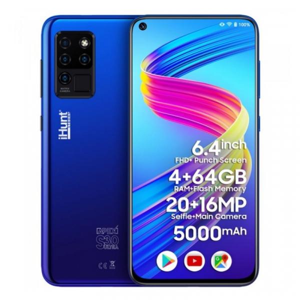 Telefon mobil iHunt S30 Ultra ApeX 2021 Albastru, 4G, 6.41 FHD+, 4GB RAM, 64GB ROM, Android 10, Helio P60 OctaCore, Dual SIM, 5000mAh