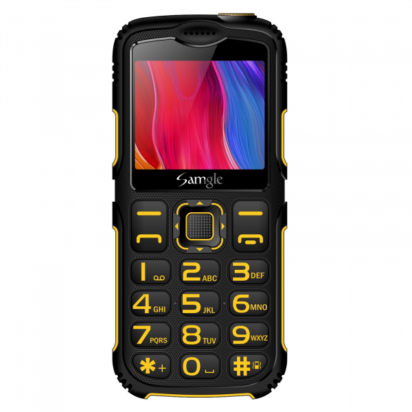 Telefon mobil Samgle Armor Negru cu Galben 1
