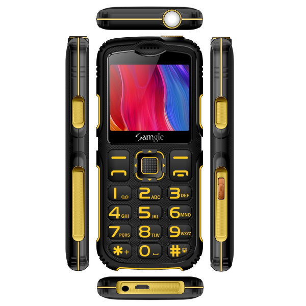 Telefon mobil Samgle Armor Negru cu Galben 3