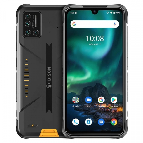 Telefon mobil UMIDIGI Bison Galben, 4G, 6.3 FHD+, 6GB RAM, 128GB ROM, Android 10, Helio P60 OctaCore, NFC, IP69K, Dual SIM, 5000mAh