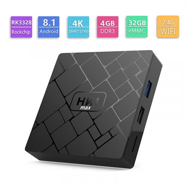 TV BOX HK1 Max 4K, Android 8.1, 4GB RAM 32GB ROM, Kodi 18, RK3228 Quad Core, Wifi, Lan, Slot Card 2