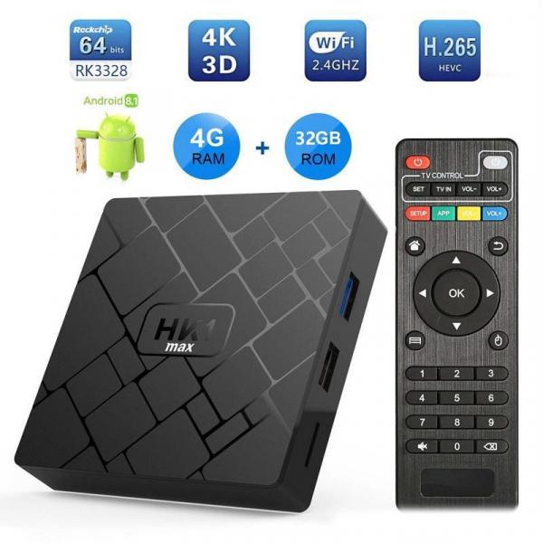 TV BOX HK1 Max 4K, Android 8.1, 4GB RAM 32GB ROM, Kodi 18, RK3228 Quad Core, Wifi, Lan, Slot Card 0
