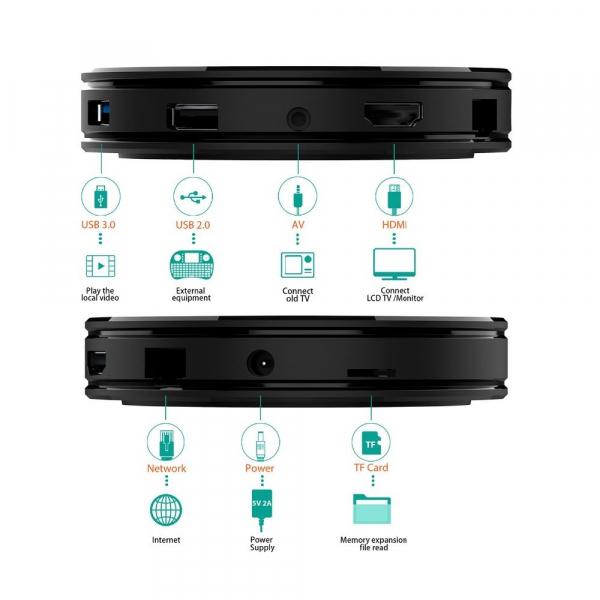 TV BOX HK1 Max 4K, Android 9.0, 4GB RAM, 32GB ROM, Kodi 18, RK3318 Quad Core, Wifi, Lan, Bluetooth, Slot Card 4