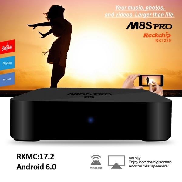 TV BOX M8S pro 4K RK3229, KODI 17 2, Android 6 0, 2GB RAM, 8GB ROM, H.264/H.265 10Bit, WIFI, LAN, HDMI, Miracast - DualStore 1