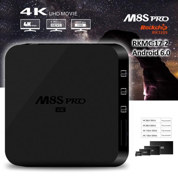 TV BOX M8S pro 4K RK3229, KODI 17 2, Android 6 0, 2GB RAM, 8GB ROM, H.264/H.265 10Bit, WIFI, LAN, HDMI, Miracast - DualStore 2