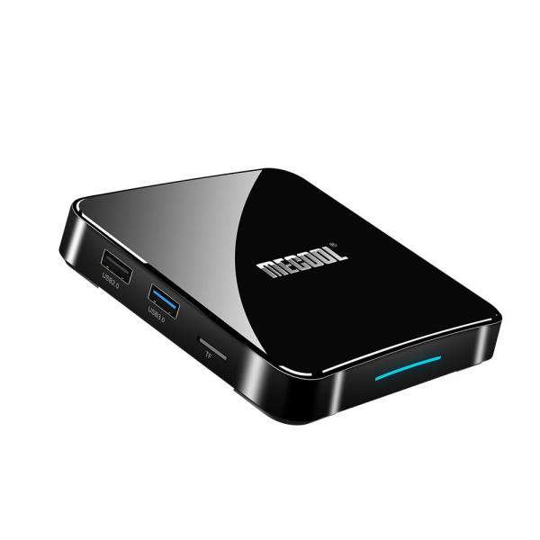 TV Box Mecool KM3 Smart Media Player, 4GB Ram, 128 GB ROM, Android 9.0, QuadCore, Control vocal 8