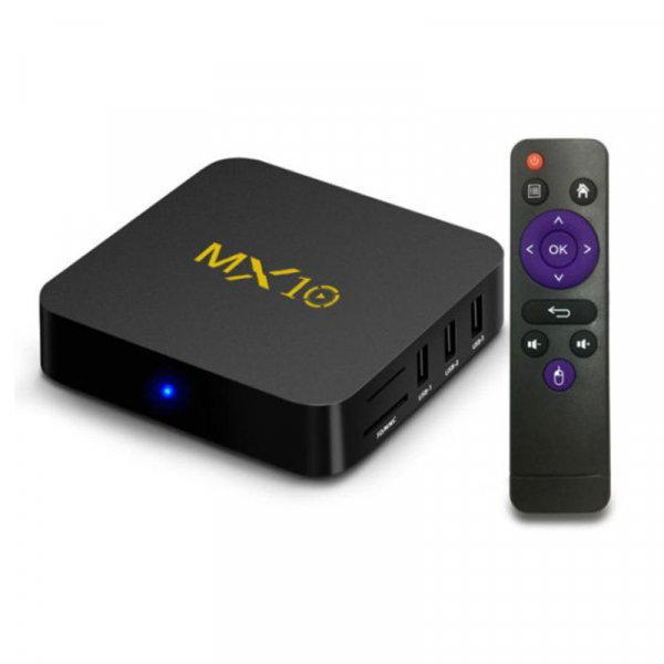 TV BOX MX10 4K, KODI 17.4 , Android 9, HDR, Quad Core RK3328, 4GB RAM DDR4  32GB ROM, WIFI, LAN, VP9, HDMI, USB, Slot Card 3