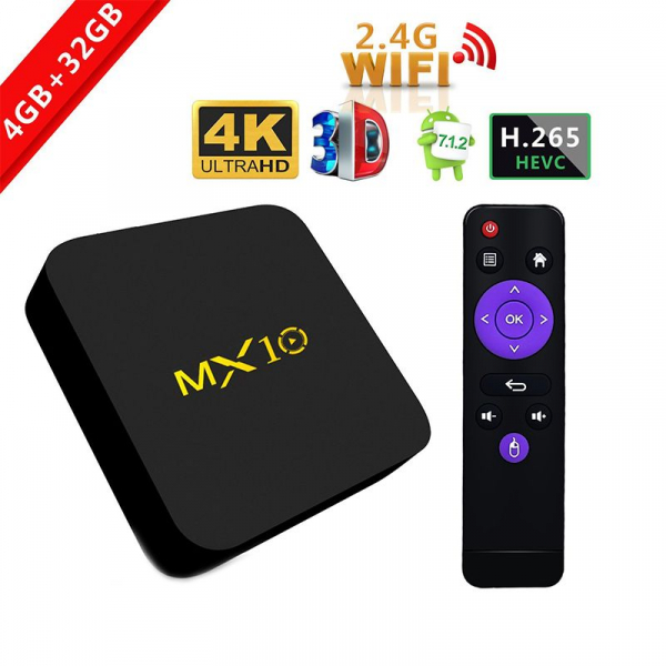 TV BOX MX10 4K, KODI 17.4 , Android 9, HDR, Quad Core RK3328, 4GB RAM DDR4  32GB ROM, WIFI, LAN, VP9, HDMI, USB, Slot Card 0