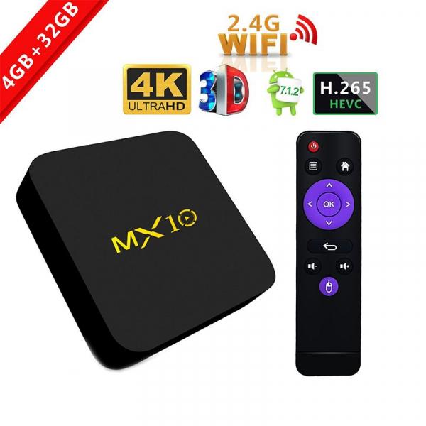 TV BOX MX10 4K, KODI 17.4 , Android 9, HDR, Quad Core RK3328, 4GB RAM DDR4  64GB ROM, WIFI, LAN, VP9, HDMI, USB, Slot Card 0