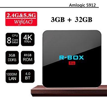 Tv Box R-BOX Pro 4K Amlogic S912,KODI, 3GB RAM, 32GB ROM, Android 7.1 0