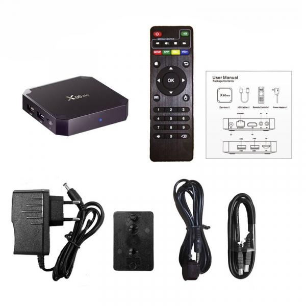 TV Box X96 Mini 4K, Quad-Core, 2GB RAM, 16GB ROM, Suport TV sau perete, KODI, WiFi, HDMI, Android 7.1.2, Prelungitor IR, 5