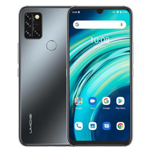 Telefon mobil UMIDIGI A9 Pro Gri, 4G, Termometru non-contact, 6.3 FHD+, 6GB RAM, 128GB ROM, Android 10, Helio P60, Dual SIM, 4150mAh