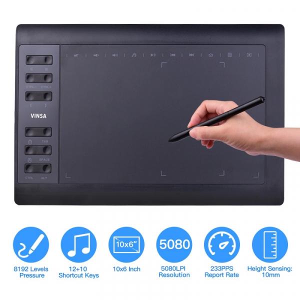 "Tableta grafica digitala de scris si desenat Vinsa VIN1060 Plus Negru, 10x6"", 8192 niveluri presiune, 5080LPI, 30 varfuri, Manusa, Hand film 3"