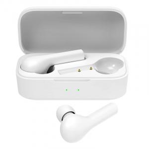 Casti wireless semi-in-ear QCY T5 TWS cu cutie de incarcare si transport de 380mAh, Bluetooth v5.0, IPX4, Alb0