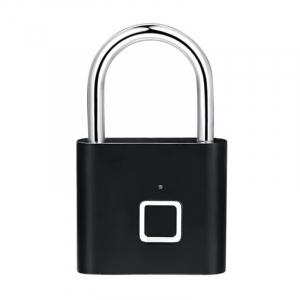 Lacat smart cu amprenta Star Fingerprint Lock fara cheie reincarcabil din aliaj de Zinc cu memorie 10 amprente si autonomie 12 luni Negru0