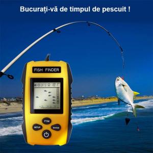 Fish Finder Portabil - sonar pentru pescuit , Senzor Adancime 100m, Pentru pescuitul la mare, lac, rau si balta0