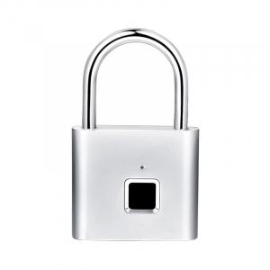 Lacat smart cu amprenta Star Fingerprint Lock fara cheie reincarcabil din aliaj de Zinc cu memorie 10 amprente si autonomie 12 luni Silver0