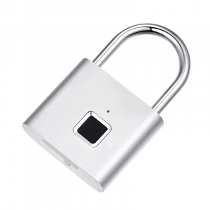 Lacat smart cu amprenta Star Fingerprint Lock fara cheie reincarcabil din aliaj de Zinc cu memorie 10 amprente si autonomie 12 luni Silver2