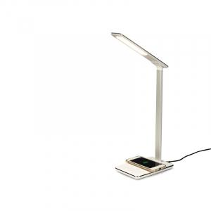 Lampa de birou cu incarcare wireless, Pliabila, Protectie ochi, Iesire USB, Viziune Led, Control prin atingere, Alb1