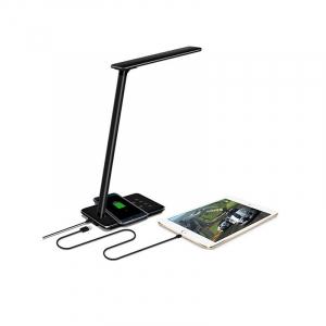Lampa de birou cu incarcare wireless, Pliabila, Protectie ochi, Iesire USB, Viziune Led, Control prin atingere, Alb5