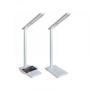 Lampa de birou cu incarcare wireless, Pliabila, Protectie ochi, Iesire USB, Viziune Led, Control prin atingere, Alb3
