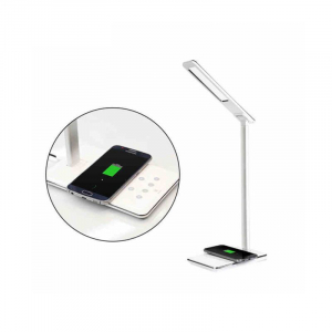 Lampa de birou cu incarcare wireless, Pliabila, Protectie ochi, Iesire USB, Viziune Led, Control prin atingere, Alb2