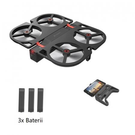 Pachet drona pliabila FunSnap iDol Negru cu 3 baterii, Motor fara perii, Camera FHD, Senzor CMOS, Memorie 8GB, GPS, Wi-Fi, 1800mAh0