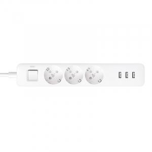 Prelungitor Xiaomi Mi Power Strip, 3 prize, 3 port-uri USB, 16A, 3680W, 1.4m cablu2