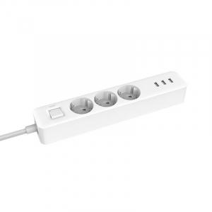 Prelungitor Xiaomi Mi Power Strip, 3 prize, 3 port-uri USB, 16A, 3680W, 1.4m cablu1