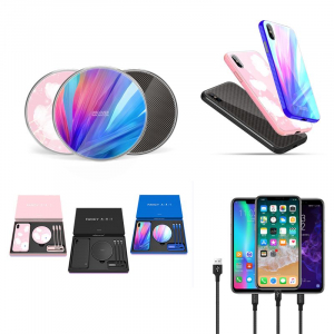 Set Cadou Extravagant - Nillkin Fancy Gift Set - Cablu de date 3 in 1, Incarcator wireless, Husa tempered glass pentru iPhone X0