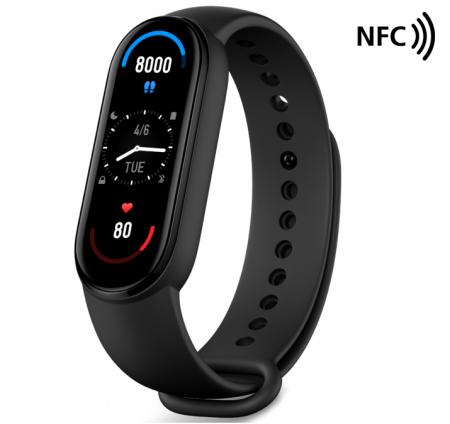 "Smartband Xiaomi Mi Band 6 NFC Negru, AMOLED 1.56"", PAI, Ritm cardiac, Oxigen, Stres, Menstruatie, Inot, 30 moduri sport0"