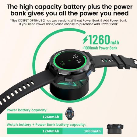 Smartwatch Kospet Optimus 2 Negru + bratara de rezerva din piele maro [3]