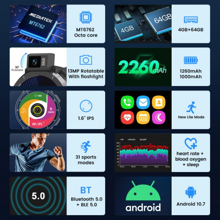 Smartwatch Kospet Optimus 2 Negru + bratara de rezerva din piele maro [4]