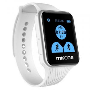 "Smartwatch Mifone W15, Sapphire Touch Screen 1.44"" curbat 2D, 128MB ROM, 64MB RAM, ARM9, Bluetooth v3.0, 405mAh, Alb0"