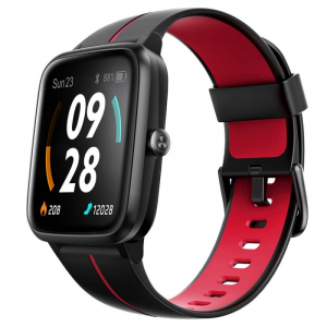 "Smartwatch Ulefone Watch GPS Negru cu Rosu, TFT 1.3"" touch screen, Ritm cardiac, Monitorizare Menstruatie, Waterproof, Meteo, 210mAh0"