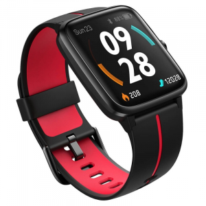 "Smartwatch Ulefone Watch GPS Negru cu Rosu, TFT 1.3"" touch screen, Ritm cardiac, Monitorizare Menstruatie, Waterproof, Meteo, 210mAh3"