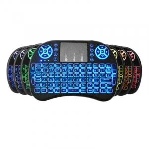 Telecomanda wireless QWERTY cu mini tastatura STAR i8, 2.4G, Iluminare LED 7 culori, Air mouse, Touch pad, Negru0