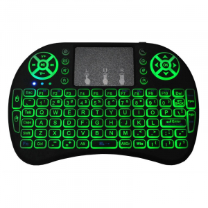 Telecomanda wireless QWERTY cu mini tastatura STAR i8, 2.4G, Iluminare LED 7 culori, Air mouse, Touch pad, Negru2