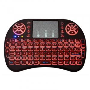 Telecomanda wireless QWERTY cu mini tastatura STAR i8, 2.4G, Iluminare LED 7 culori, Air mouse, Touch pad, Negru3