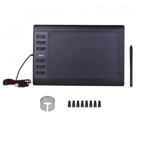 Tableta grafica digitala de scris si desenat Vinsa VIN1060 Plus Negru, 10x6 inch, USB, 8192 niveluri de presiune, 5080LPI, 8 varfuri0