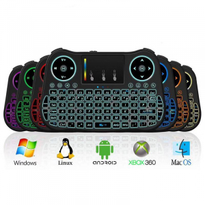 Telecomanda cu mini tastatura Rainbow backlit MT08, Air Mouse, Touch Pad, Wireless, Iluminare led, QWERTY0