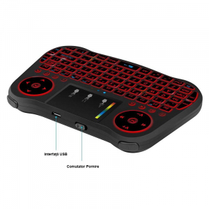Telecomanda cu mini tastatura Rainbow backlit MT08, Air Mouse, Touch Pad, Wireless, Iluminare led, QWERTY2