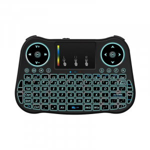 Telecomanda cu mini tastatura Rainbow backlit MT08, Air Mouse, Touch Pad, Wireless, Iluminare led, QWERTY1