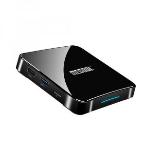 TV Box Mecool KM3 Smart Media Player, 4GB Ram, 128 GB ROM, Android 9.0, QuadCore, Control vocal8