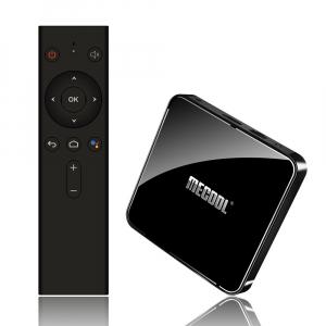 TV Box Mecool KM3 Smart Media Player, 4GB Ram, 128 GB ROM, Android 9.0, QuadCore, Control vocal9