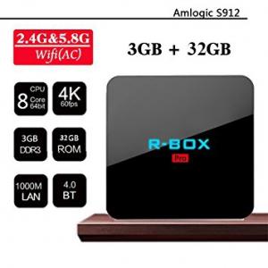 Tv Box R-BOX Pro 4K Amlogic S912, KODI, DDR4 3GB RAM, 32GB ROM, Android 7.10