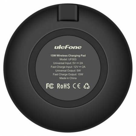 Incarcator wireless Ulefone UF003 Negru cu standard Qi, Incarcare rapida 15W, Subtire si cu strat anti-alunecare1