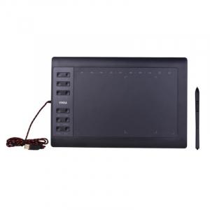 "Tableta grafica digitala de scris si desenat Vinsa VIN1060 Plus Negru, 10x6"", 8192 niveluri presiune, 5080LPI, 30 varfuri, Manusa, Hand film2"