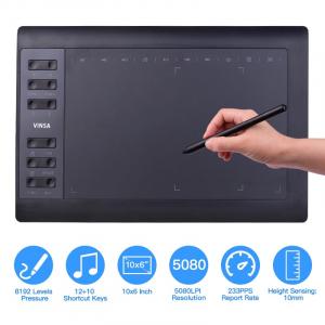 "Tableta grafica digitala de scris si desenat Vinsa VIN1060 Plus Negru, 10x6"", 8192 niveluri presiune, 5080LPI, 30 varfuri, Manusa, Hand film3"